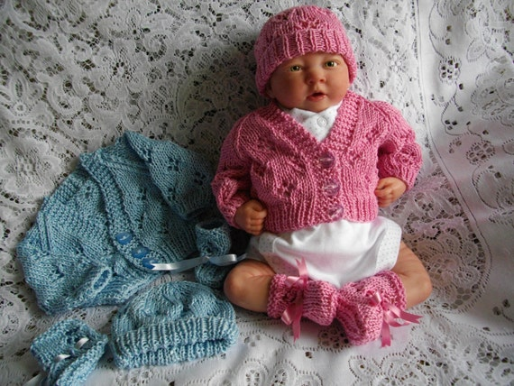 Preemie Knitting Patterns Free : Knitting PATTERN No. 15 Premature Baby Cardigan Hat & Bootee