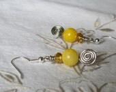 Yellow Spiral Drop Wire Earrings