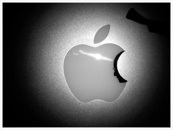 In Memory of Steve Jobs - portrait silhouette decal: For Laptop, Car etc..
