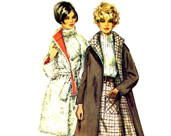 1960s Reversible Coat Pattern Stand Up Collar and A Line Skirt Raglan Sleeve Wrap Coat Simplicity 8503 Bust 36 Vintage Sewing Pattern