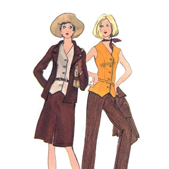 Vogue 7969 Vintage Mod 1960s A Line Skirt or Pencil Pants, Vest and Jacket Suit Sewing Pattern--Bust 36--UNCUT, Not In Original Env