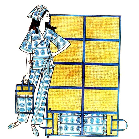 McCall's 8846 Vintage 1960s Mod Sewing Pattern Beach Wardrobe From Towels--Karate Suit, Hat, Slippers, Placemat Tote, Mat--Sz Large