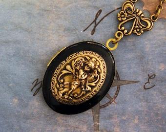 Angel Locket, Angel Necklace, Angel Locket Necklace, Golden Angel Necklace, Angel Jewelry, Angel Pendant, Antique Style Jewelry