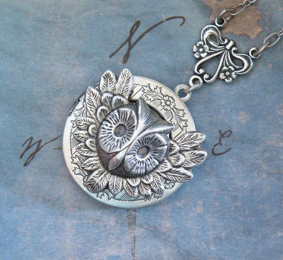 Silver Winged Owl Locket