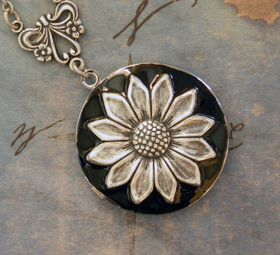 Silver Sunflower Locket -  Enameled Sunflower Necklace