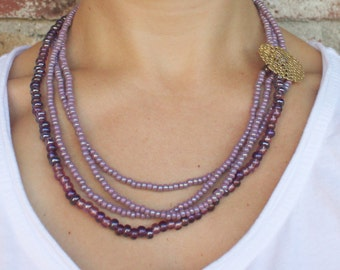Purple Seed Beaded Necklace