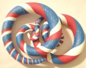 Spangled Spirals. Red White & Blue Spiral Gauged Earrings. Sizes 6g 4g 2g 0g 00g. False Fake Faker Gauges Plugs Also.