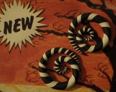 Get Ready For Halloween. Custom Striped Spiral Gauges or Fake Gauge Earrings. One Pair. Sizes 6g, 4g, 2g, 0g, 00g.