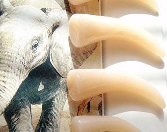 Faux Polished Ivory Bone Tusk Talon Teeth Plugs. One Pair. Sizes 2g 0g 00g 7/16 1/2 9/16 5/8 11/16 3/4 - Fake Gauges and MM Sizes Also.