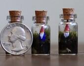 Tiny Terrarium with Gnome in Vial - Living Terrarium and Miniature Sculpture