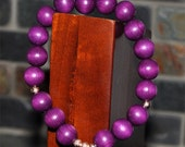 Custom Listing for linders31981 - Purple Wood Beaded Stretch Bracelet with Rose Gold Stardust Accent Beads