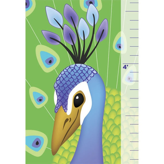 Childrens growth chart Personalized chart colorful peacock image