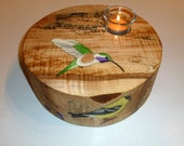 Lucifer Hummingbird, Goldfinch and More Painting on Beautiful Wood Candleholder