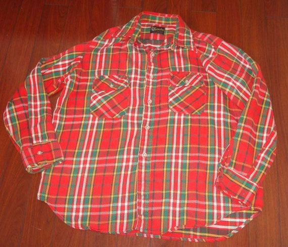 Vintage klondike flannel shirt made in usa mens xl for Mens xl flannel shirts