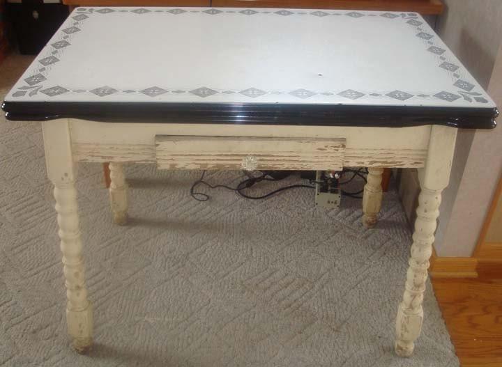 1930's vintage enamel kitchen table