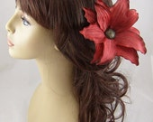 Red Silk Tiger Lily Hair Stick Set
