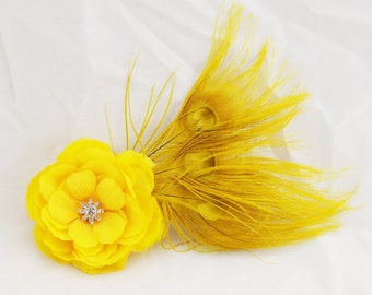 Yellow Flower & Peacock Feather Fascinator Hair Clip/Pin