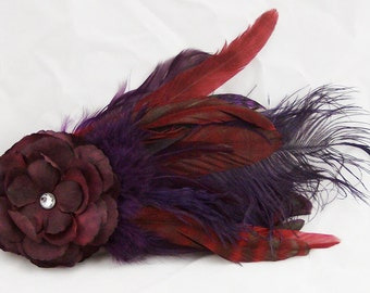 Plum & Purple Feather and Flower Fascinator Hair Clip/Pin