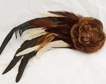 Brown Feather and Flower Fascinator Hair Clip/Pin