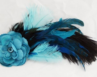 Turquoise Feather and Flower Fascinator Hair Clip/Pin