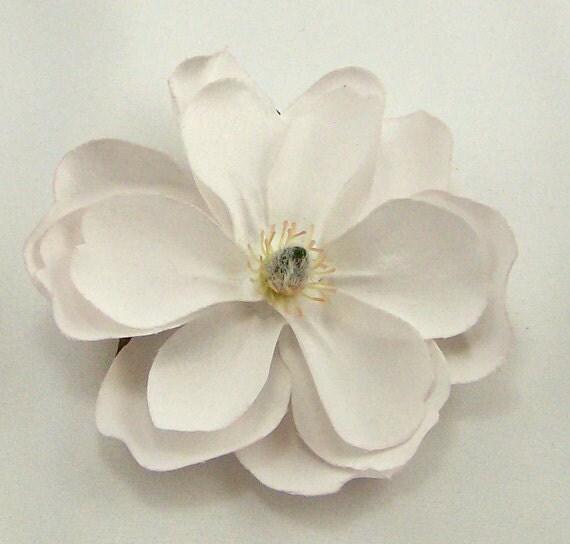 White Magnolia Flower Clip Amp Pin