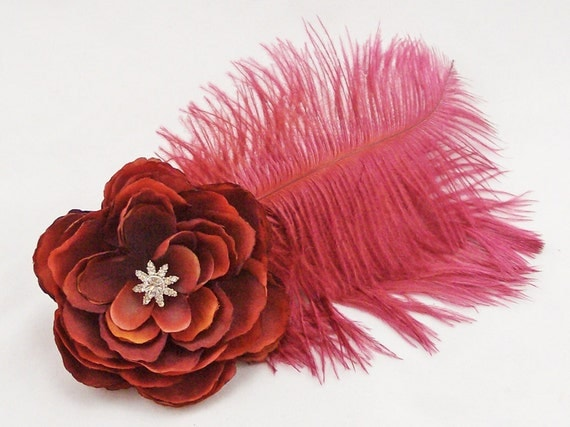 Wine Flower & Feather Fascinator Hair Clip/Pin