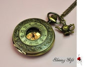 Victorian Pocket Watch Necklace Roma Number, with a vintage teapot, Time for Tea (Big Size)