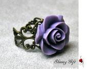 Vintage Inspired Blooming Rose Flower Resin Ring