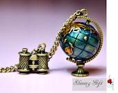 vintage style Globe and telescope pendant necklace, Travel the world