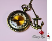 Big Brown Shadow Pocket Watch Necklace with a sailer anchor