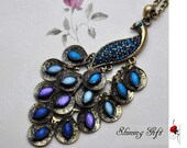 Vintage style peacock necklace, with blue crystal peacock feathers - MyShiningGift