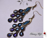 Metal Peacock earrings, blue crystal peacock feather earrings, Dark Blue Color