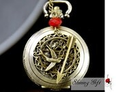 The Hunger Games Inspired Arrow,Mockingjay, Victorian pattern golden dial Pocket Watch locket Necklace