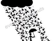 "Vinyl Wall Art ""Raining Cats & Dogs"" 24""x12"""