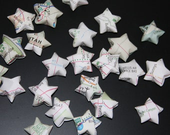 Lucky origami stars made from recycled atlas