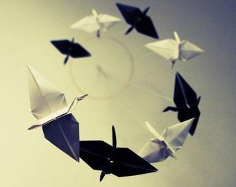 Origami Spiral Mobile - Black and White Cranes