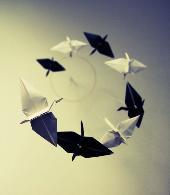 Origami Spiral Mobile - Black and White Cranes
