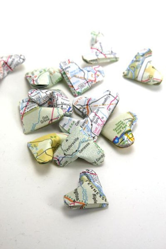 Upcycled Recycled Atlas Map Origami Hearts