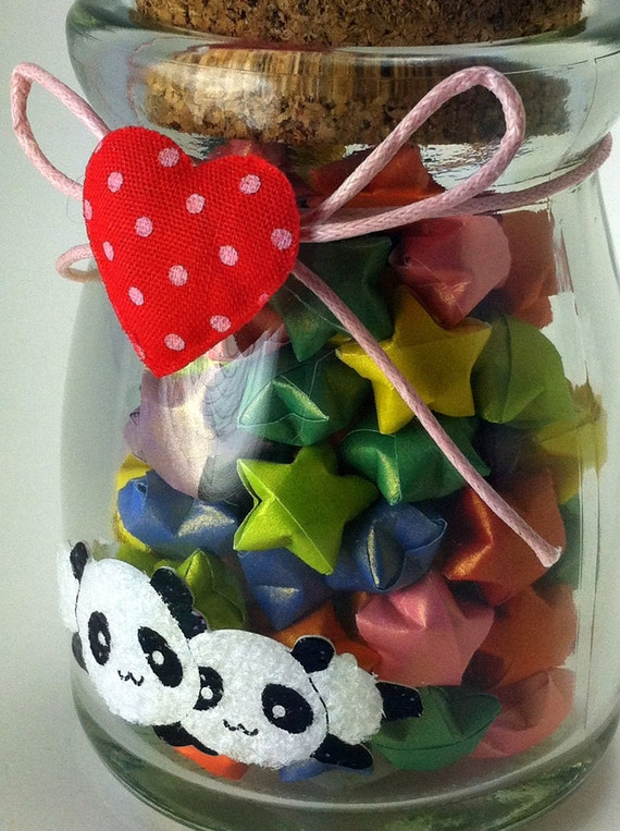 Pandas with Red Heart Jar filled with Origami Lucky Stars