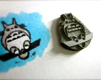 """My Neighbor Totoro Rubber Stamp on Reclaimed Wood Mount Small 0.75"""""""