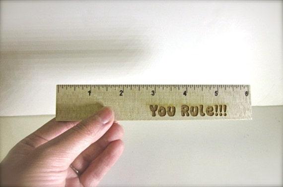 Gifts for Teachers, Kids, School Supplies - 6 Inch Wooden Laser Engraved Ruler