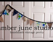 Little Boy Blue Burlap and Scrap Blue Flag Bunting Banner Blue Teal Green Pennant Flags