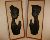 Pair of Vintage Wood Relief Art Pieces
