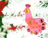 Peacock Ornament Jeweled Wood Hand Painted Pink Christmas Bird