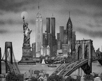 New York City Black & White Framed Art Print On Canvas