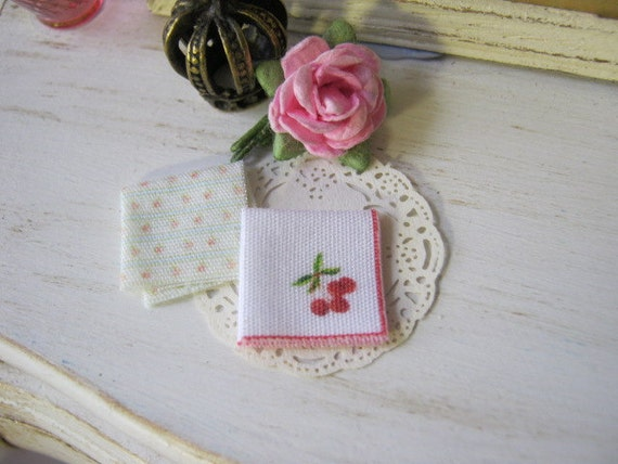 Cherry Handkerchiefs for Dollhouse.