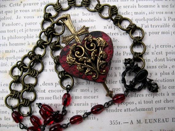 Heart sword beaded chain pendant