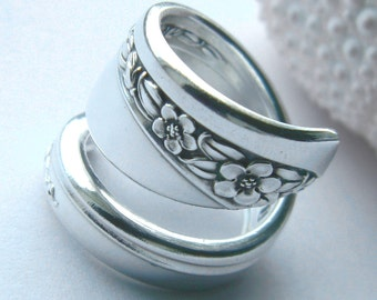 Vintage Spoon Ring  - Queen Mary 1953, Silverware Jewelry, SILVER SPOON RING