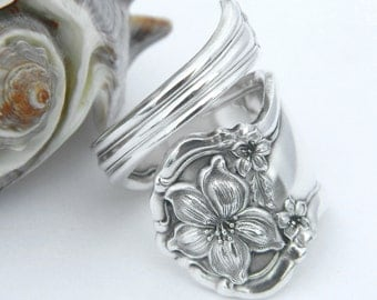 Silver Spoon Ring  - Orange Blossom 1910 SILVERWARE JEWELRY