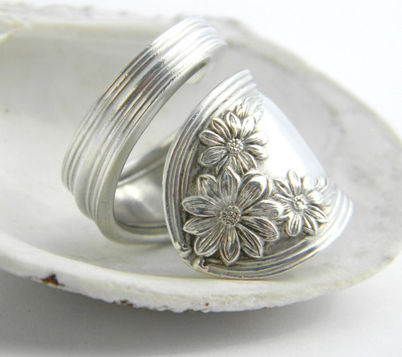 Spoon Ring, Silver Spoon Ring  - Daisy 1910, Antique Spoon Ring